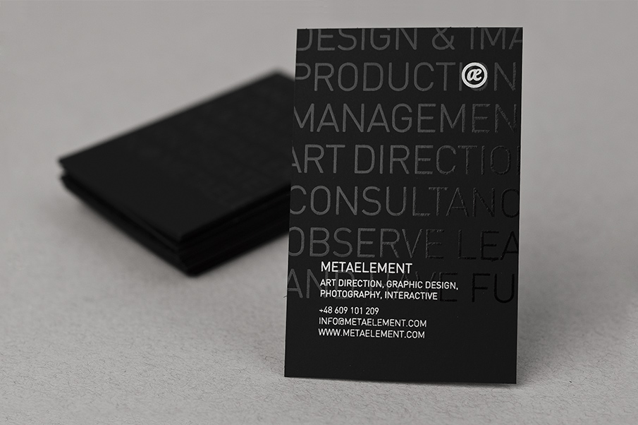 Metaelement business card metaelement metaelement business card beautifully crafted on black 400gsm skin paper with addition of spot uv treatment and a dash of silver pantone reheart Image collections